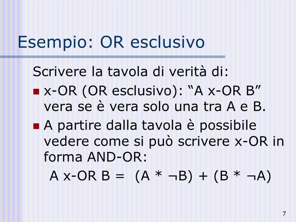 A x-OR B = (A * ¬B) + (B * ¬A)