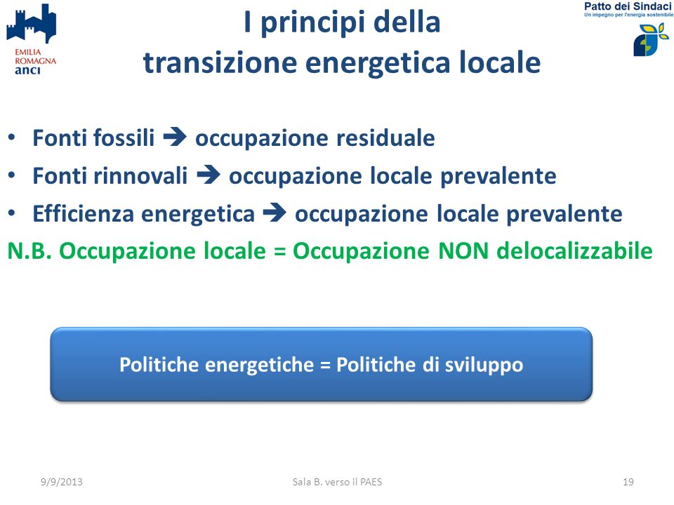 I principi della transizione energetica locale