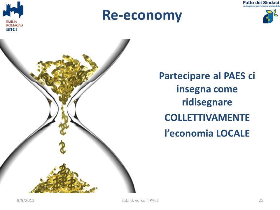 Re-economyPartecipare al PAES ci insegna come ridisegnare COLLETTIVAMENTE l'economia LOCALE 9/9/2013.