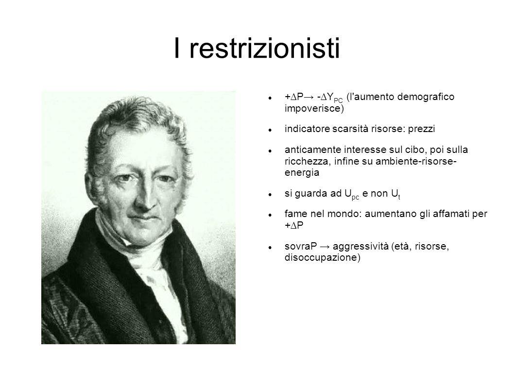 I restrizionisti +∆P→ -∆YPC (l aumento demografico impoverisce)