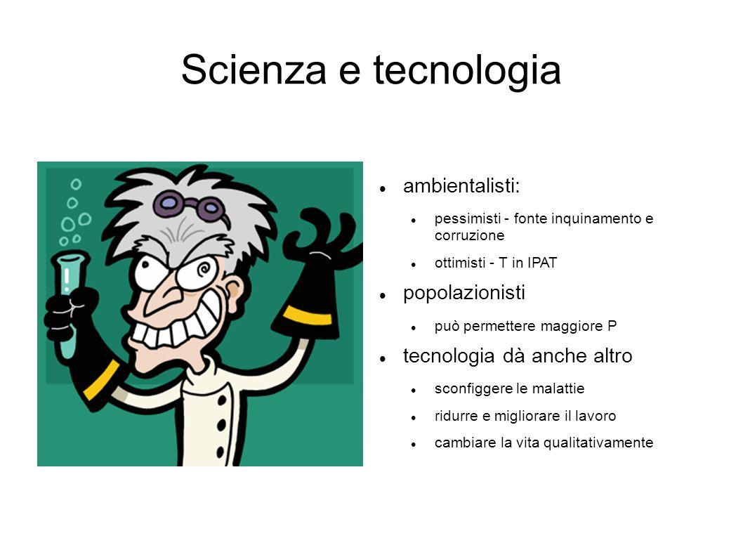 Scienza e tecnologia ambientalisti: popolazionisti