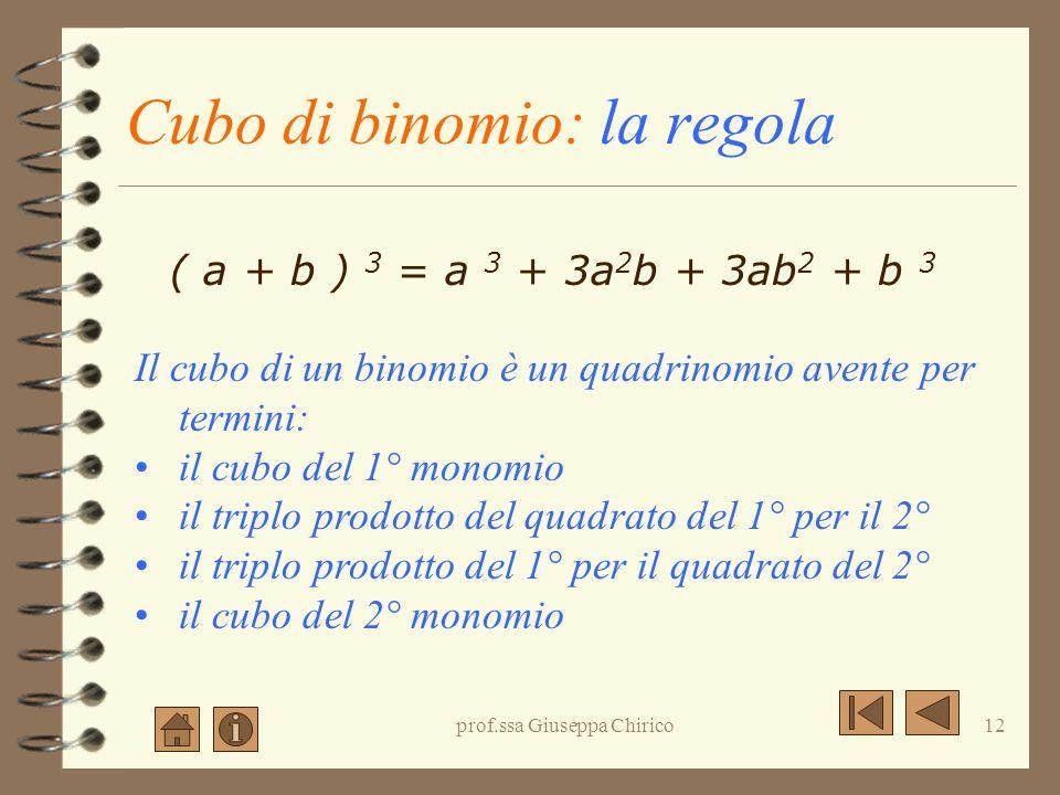 Cubo di binomio: la regola