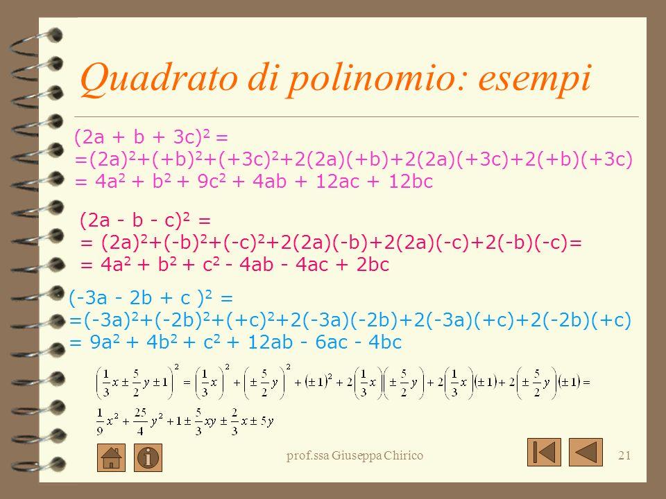 Quadrato di polinomio: esempi