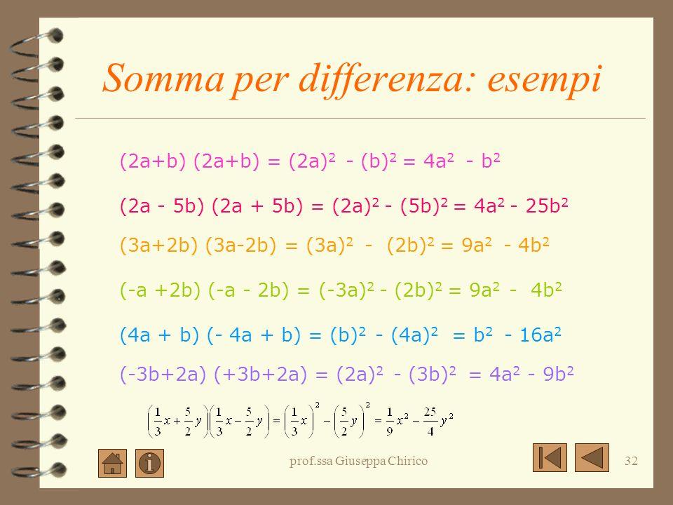 Somma per differenza: esempi
