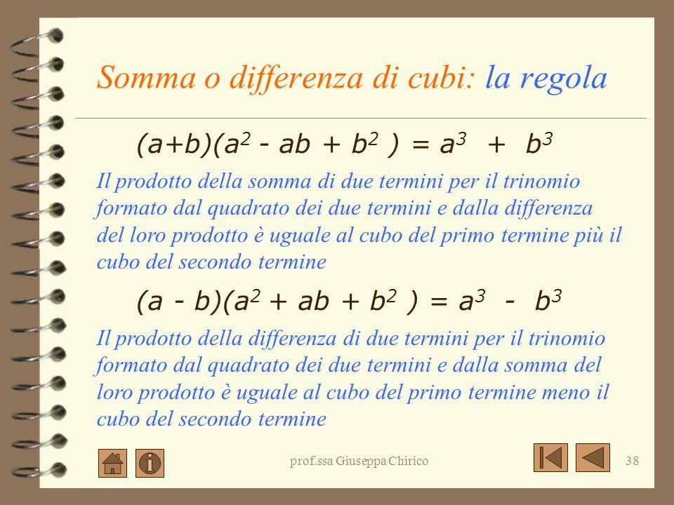 Somma o differenza di cubi: la regola