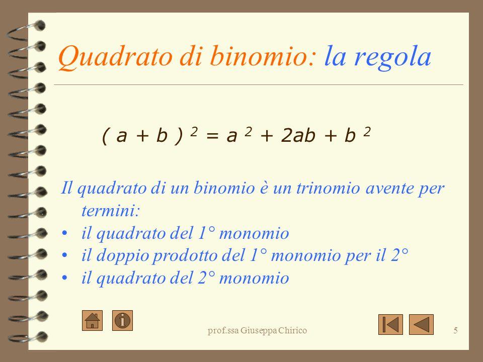 Quadrato di binomio: la regola