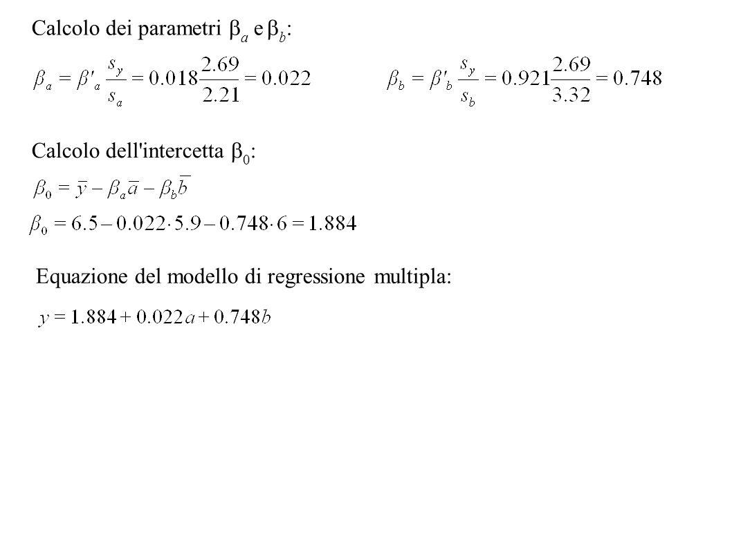 Calcolo dei parametri ba e bb: