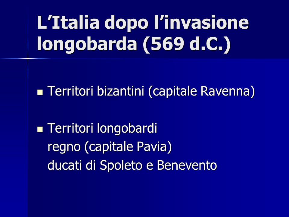 L'Italia dopo l'invasione longobarda (569 d.C.)