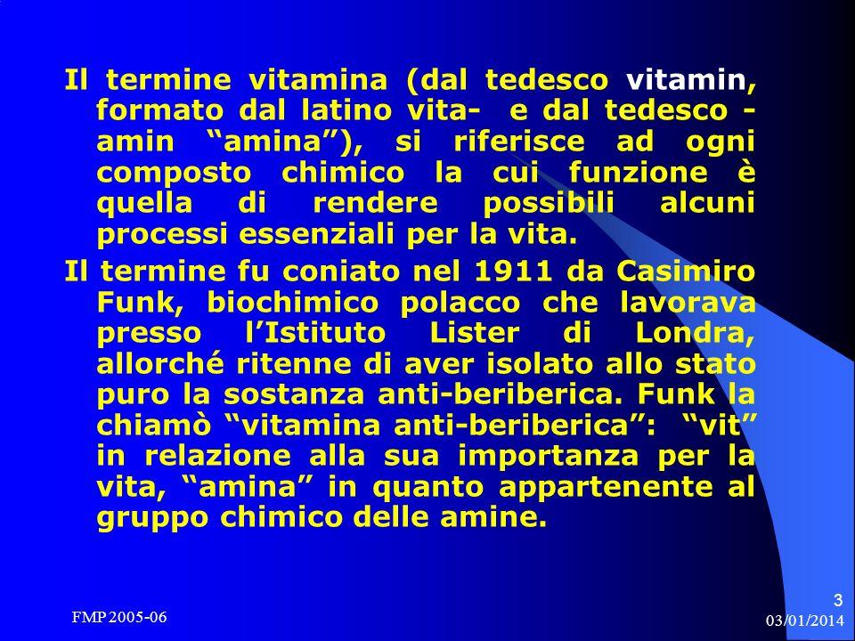 Il termine vitamina (dal tedesco vitamin, formato dal latino vita- e dal tedesco -amin amina ), si riferisce ad ogni composto chimico la cui funzione è quella di rendere possibili alcuni processi essenziali per la vita.