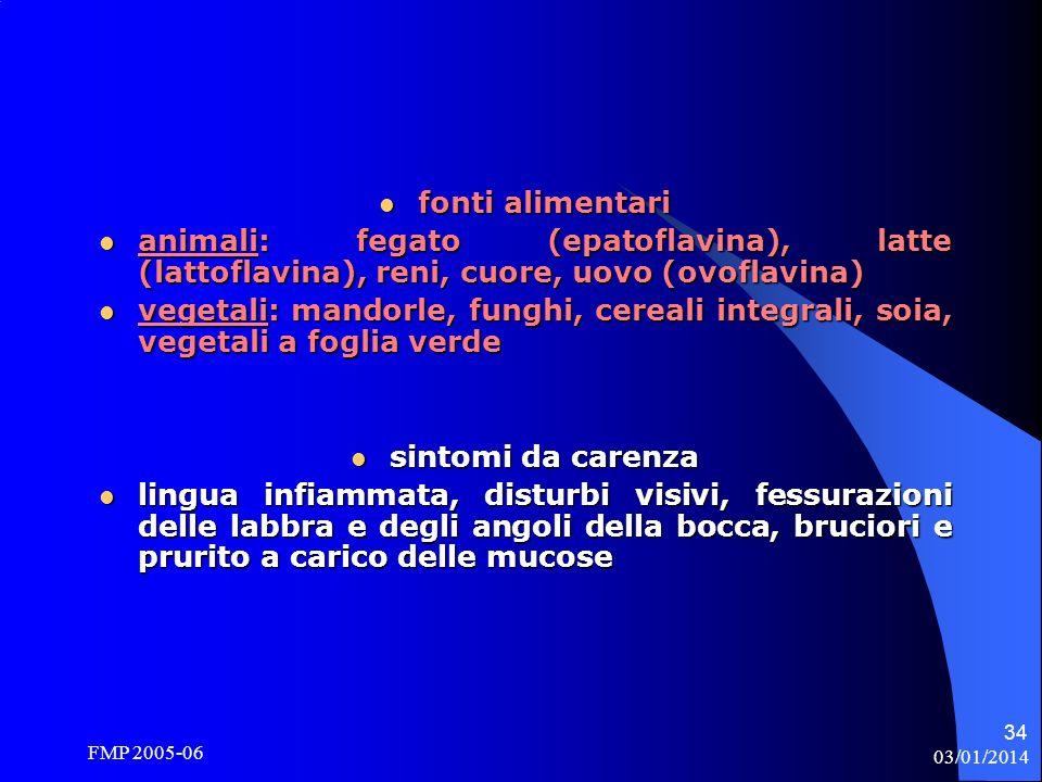 fonti alimentari sintomi da carenza