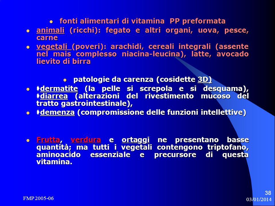 fonti alimentari di vitamina PP preformata