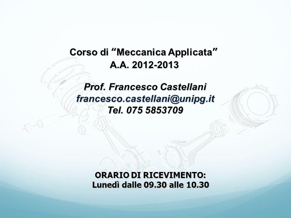 Corso di Meccanica Applicata A.A. 2012-2013