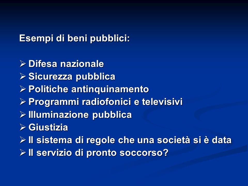 Esempi di beni pubblici: