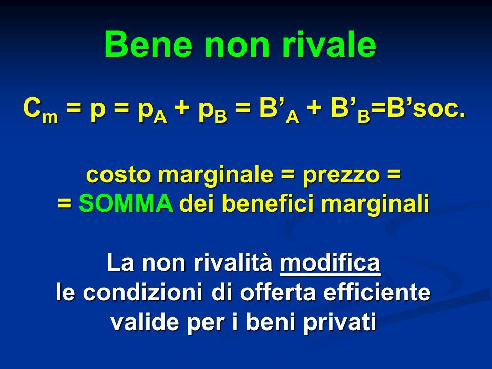 Bene non rivale Cm = p = pA + pB = B'A + B'B=B'soc.