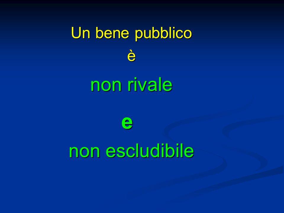 Un bene pubblico è non rivale e non escludibile