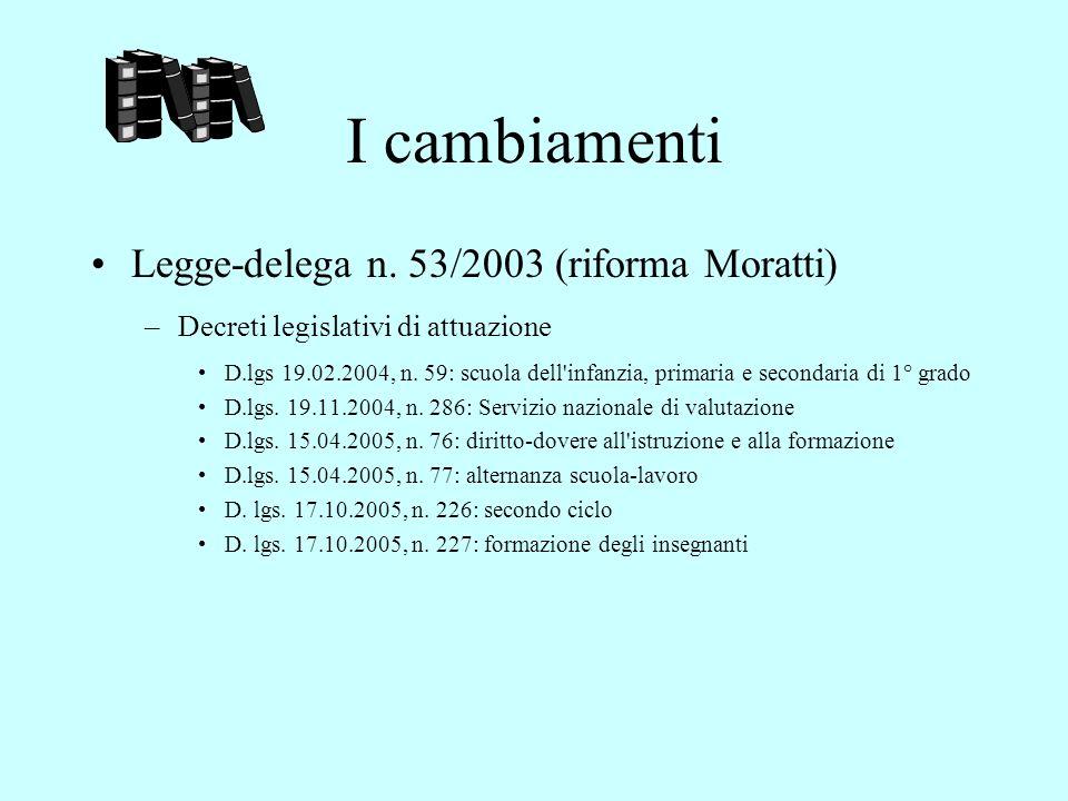 I cambiamenti Legge-delega n. 53/2003 (riforma Moratti)