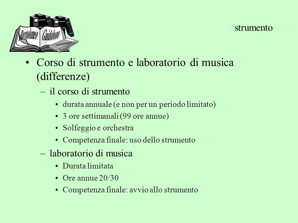 strumento Bartolomeo Guidobono. Corso di strumento e laboratorio di musica (differenze) il corso di strumento.
