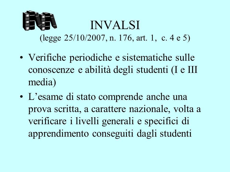 INVALSI (legge 25/10/2007, n. 176, art. 1, c. 4 e 5)