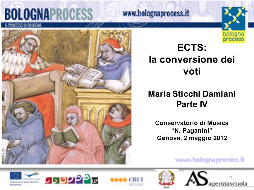 ECTS: la conversione dei voti Maria Sticchi Damiani Parte IV Conservatorio di Musica N. Paganini Genova, 2 maggio 2012