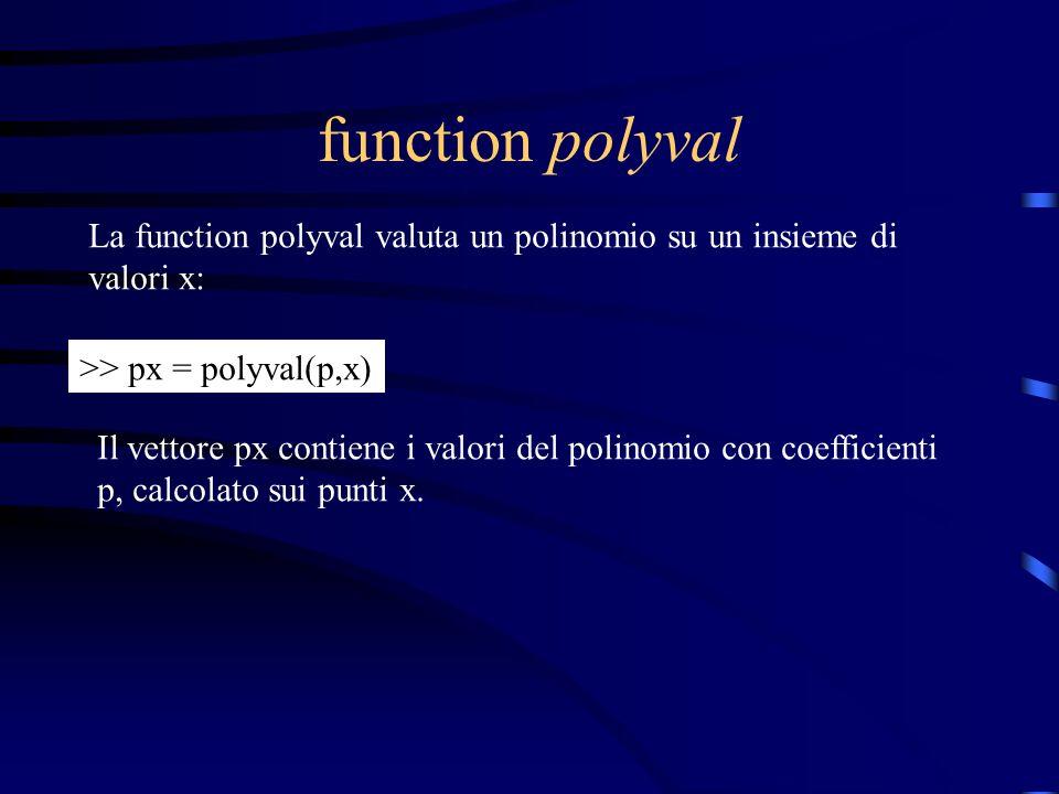function polyval La function polyval valuta un polinomio su un insieme di. valori x: >> px = polyval(p,x)
