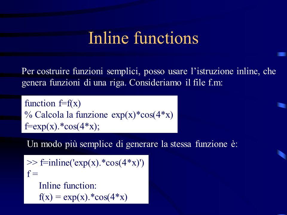 Inline functions Per costruire funzioni semplici, posso usare l'istruzione inline, che genera funzioni di una riga. Consideriamo il file f.m:
