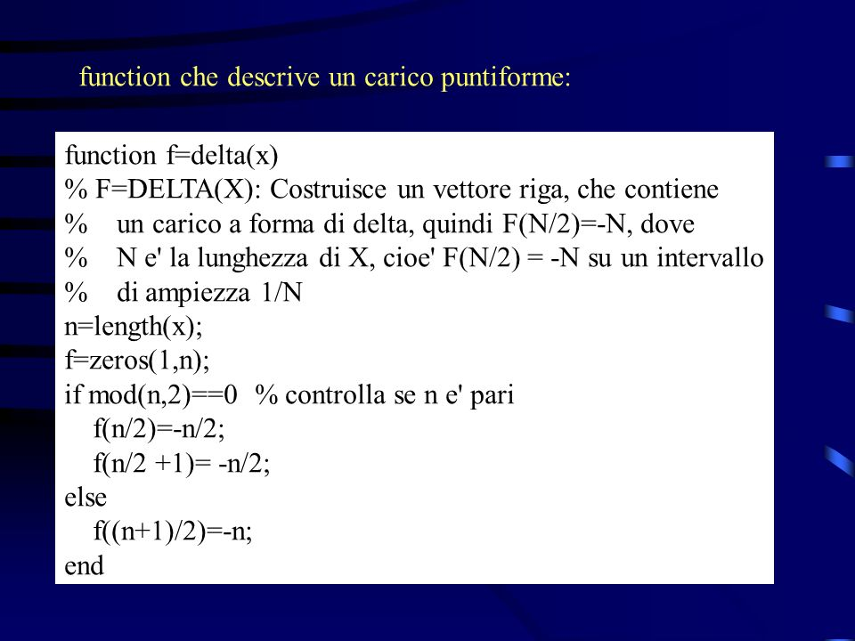 function che descrive un carico puntiforme: