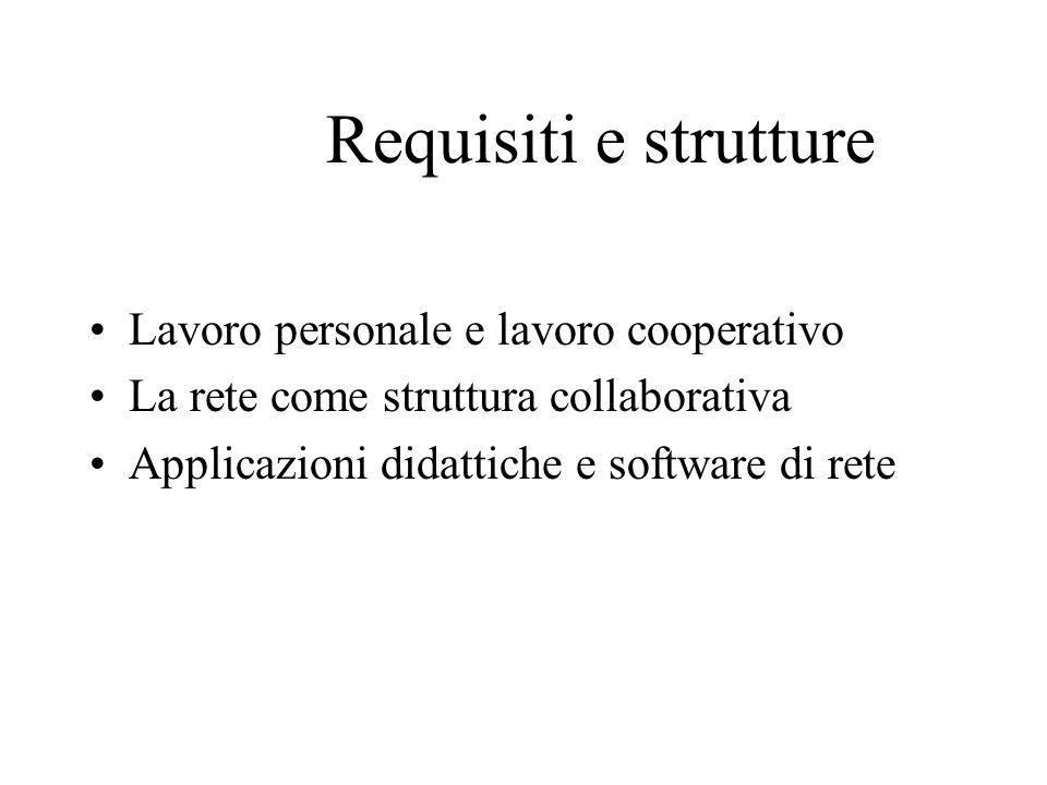 Requisiti e strutture Lavoro personale e lavoro cooperativo