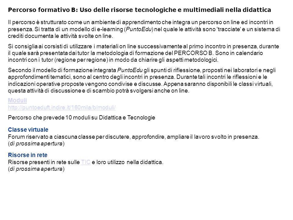 Percorso formativo B: Uso delle risorse tecnologiche e multimediali nella didattica