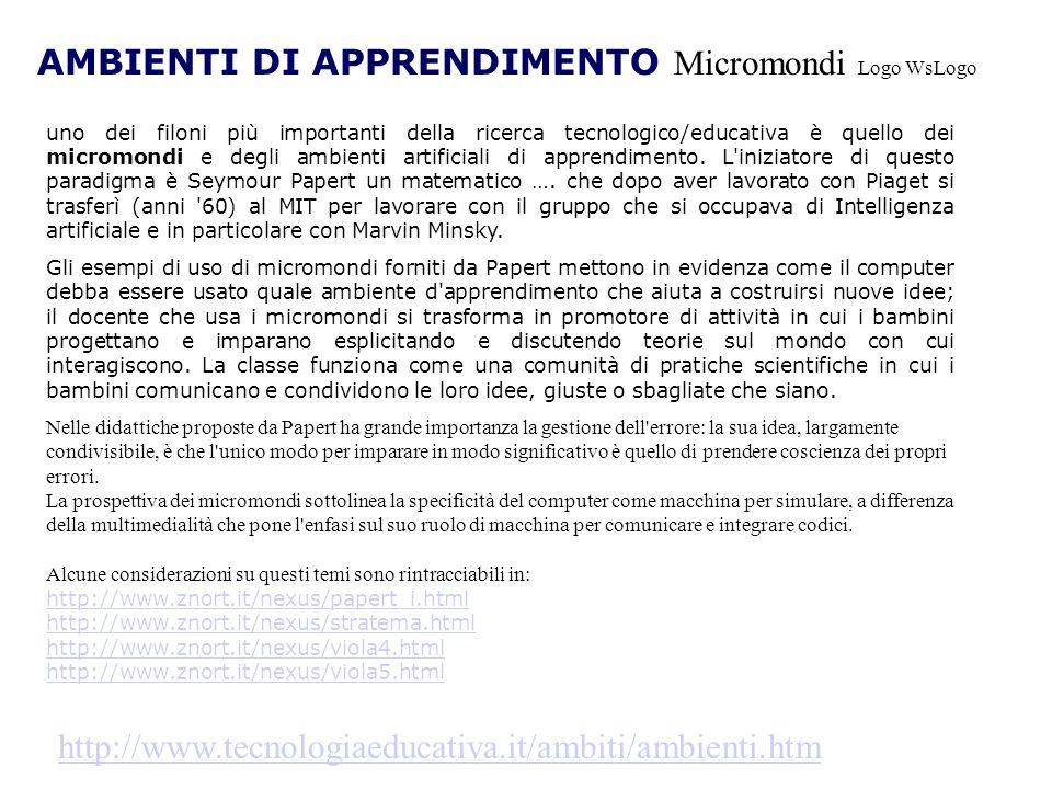 AMBIENTI DI APPRENDIMENTO Micromondi Logo WsLogo