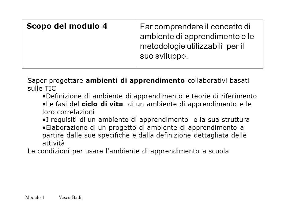 Scopo del modulo 4 Far comprendere il concetto di ambiente di apprendimento e le metodologie utilizzabili per il suo sviluppo.