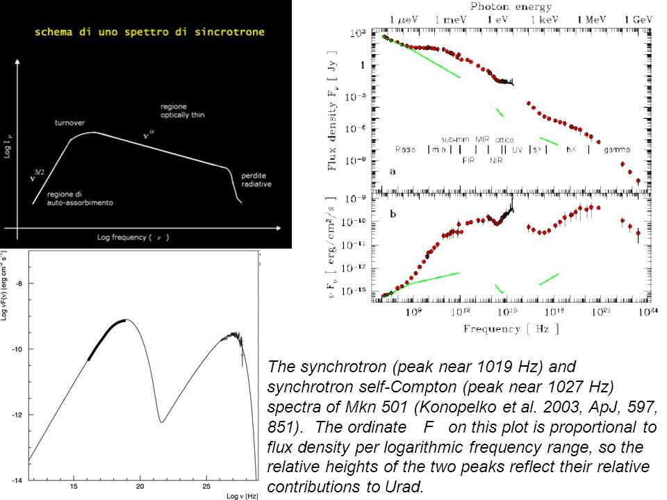 The synchrotron (peak near 1019 Hz) and synchrotron self-Compton (peak near 1027 Hz) spectra of Mkn 501 (Konopelko et al.