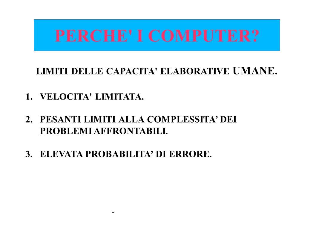 LIMITI DELLE CAPACITA ELABORATIVE UMANE.