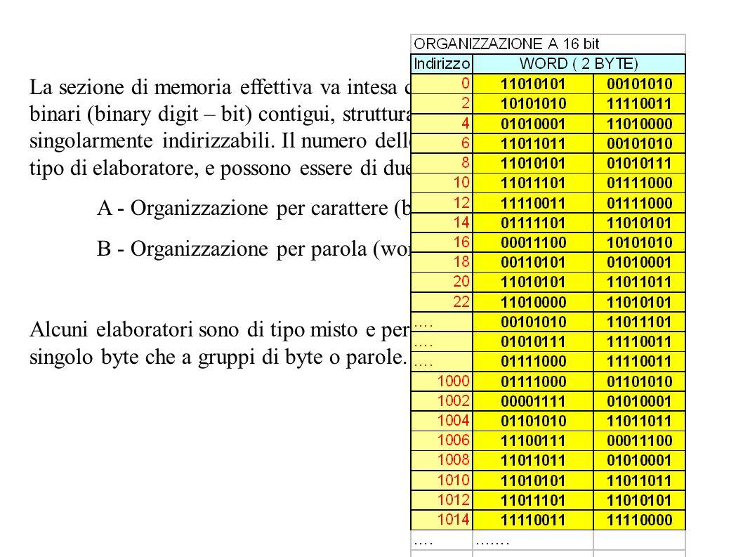 La sezione di memoria effettiva va intesa come una successione di enti binari (binary digit – bit) contigui, strutturati in gruppi o locazioni, singolarmente indirizzabili. Il numero delle locazioni varia a seconda del tipo di elaboratore, e possono essere di due tipi: