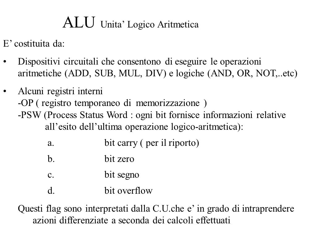 ALU Unita' Logico Aritmetica