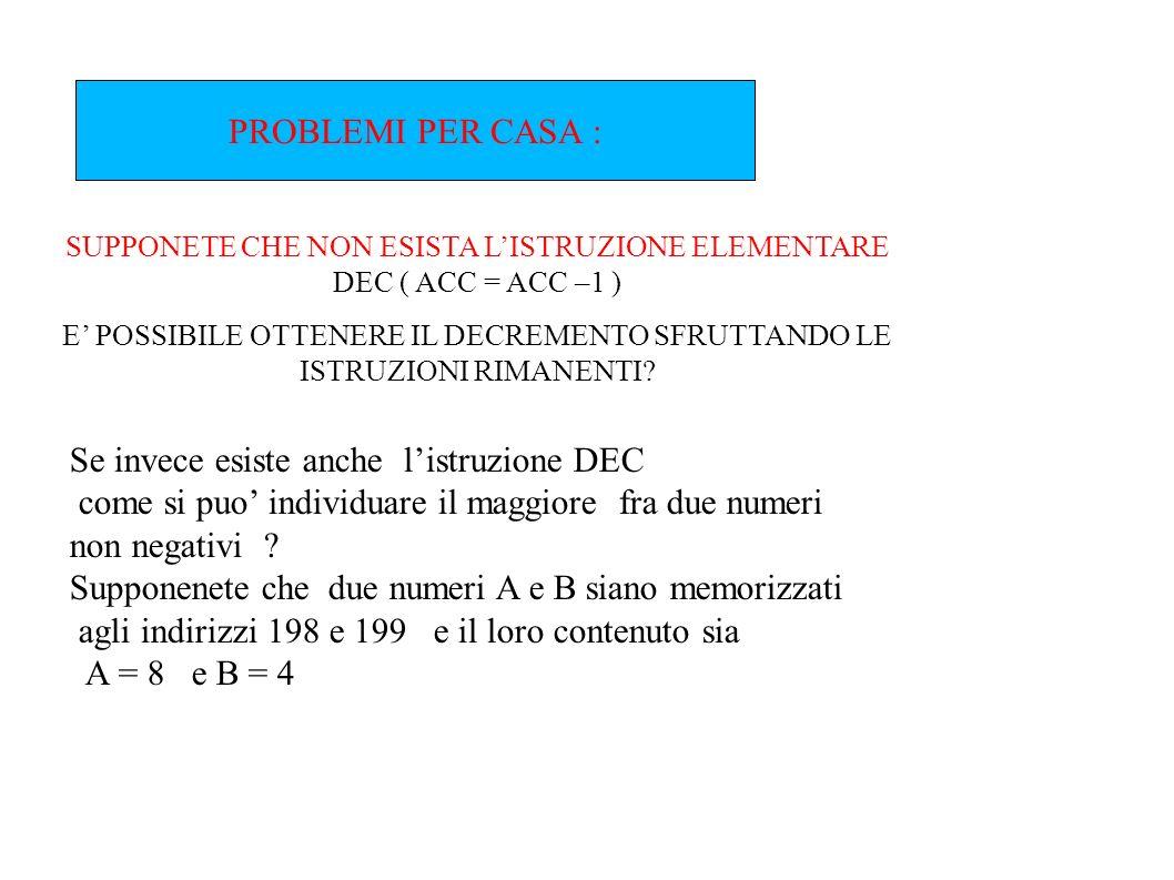 SUPPONETE CHE NON ESISTA L'ISTRUZIONE ELEMENTARE DEC ( ACC = ACC –1 )