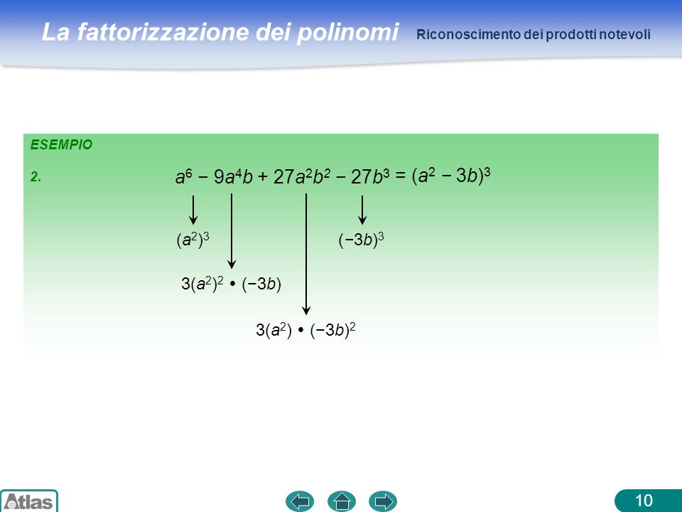 a6 − 9a4b + 27a2b2 − 27b3 = (a2 − 3b)3 (a2)3 3(a2)2  (−3b)