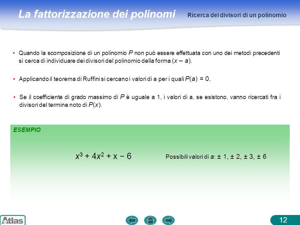 x3 + 4x2 + x − 6 Ricerca dei divisori di un polinomio