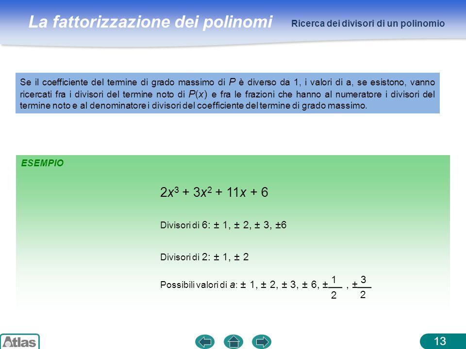 2x3 + 3x2 + 11x + 6 1 3 2 Ricerca dei divisori di un polinomio