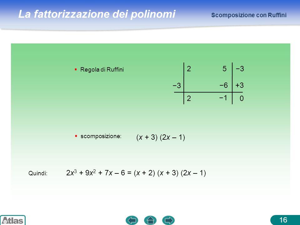Quindi: 2x3 + 9x2 + 7x – 6 = (x + 2) (x + 3) (2x – 1)