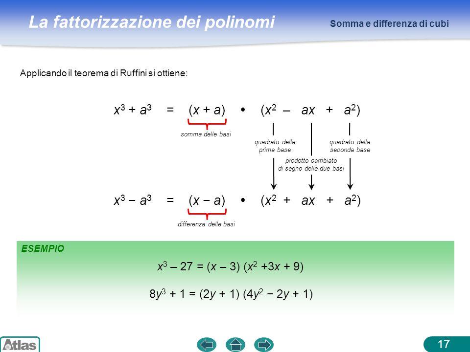 x3 + a3 = (x + a)  (x2 – ax + a2) x3 − a3 = (x − a)  (x2 + ax + a2)