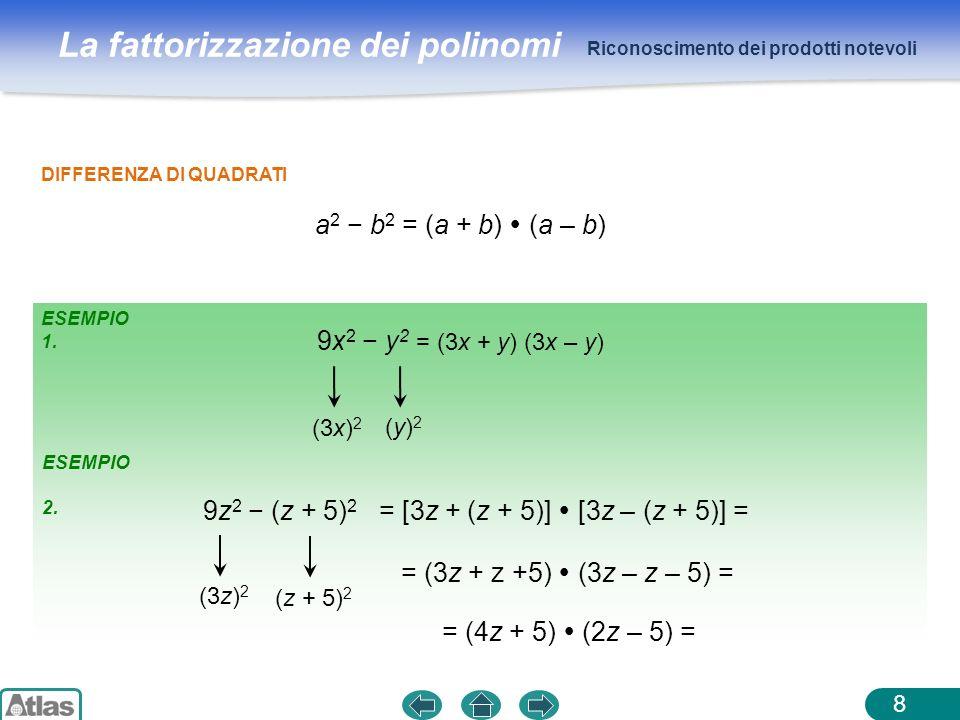 a2 − b2 = (a + b)  (a – b) 9x2 − y2 9z2 − (z + 5)2