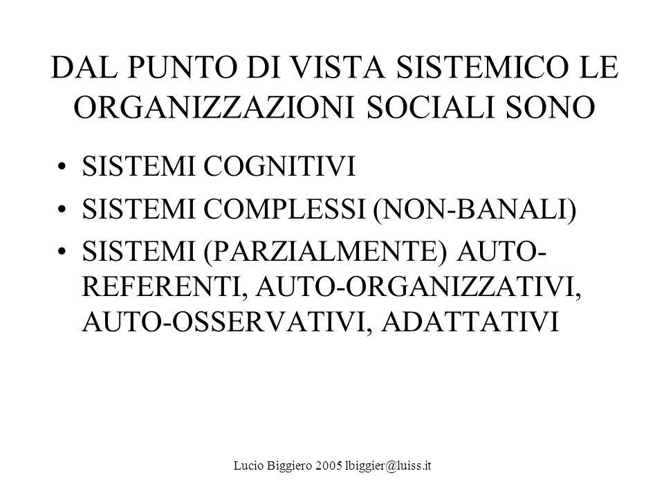 DAL PUNTO DI VISTA SISTEMICO LE ORGANIZZAZIONI SOCIALI SONO