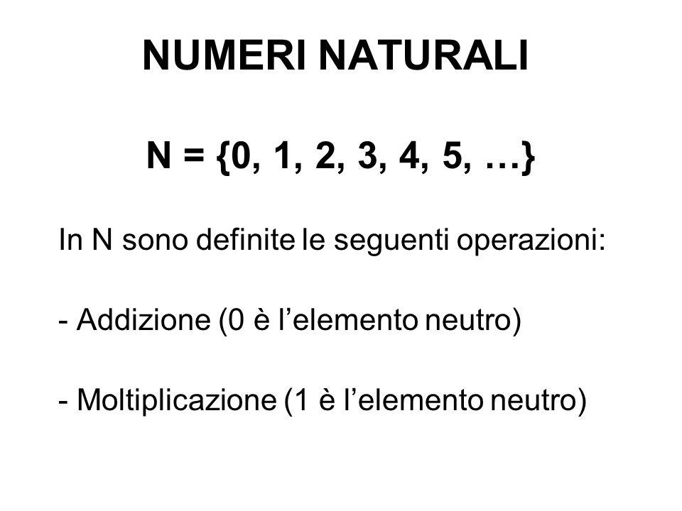 NUMERI NATURALIN = {0, 1, 2, 3, 4, 5, …} In N sono definite le seguenti operazioni: - Addizione (0 è l'elemento neutro)