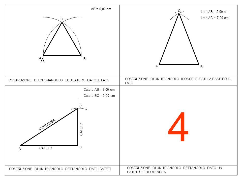 4 A AB = 6,00 cm C Lato AB = 5,00 cm Lato AC = 7,00 cm C A B A B