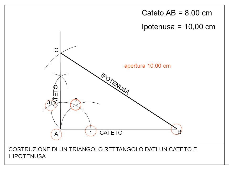 Cateto AB = 8,00 cm Ipotenusa = 10,00 cm