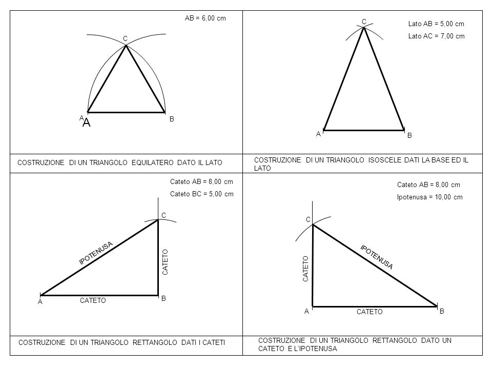 A AB = 6,00 cm C Lato AB = 5,00 cm Lato AC = 7,00 cm C A B A B