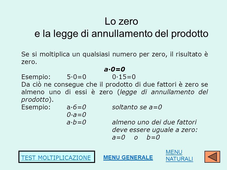Lo zero e la legge di annullamento del prodotto