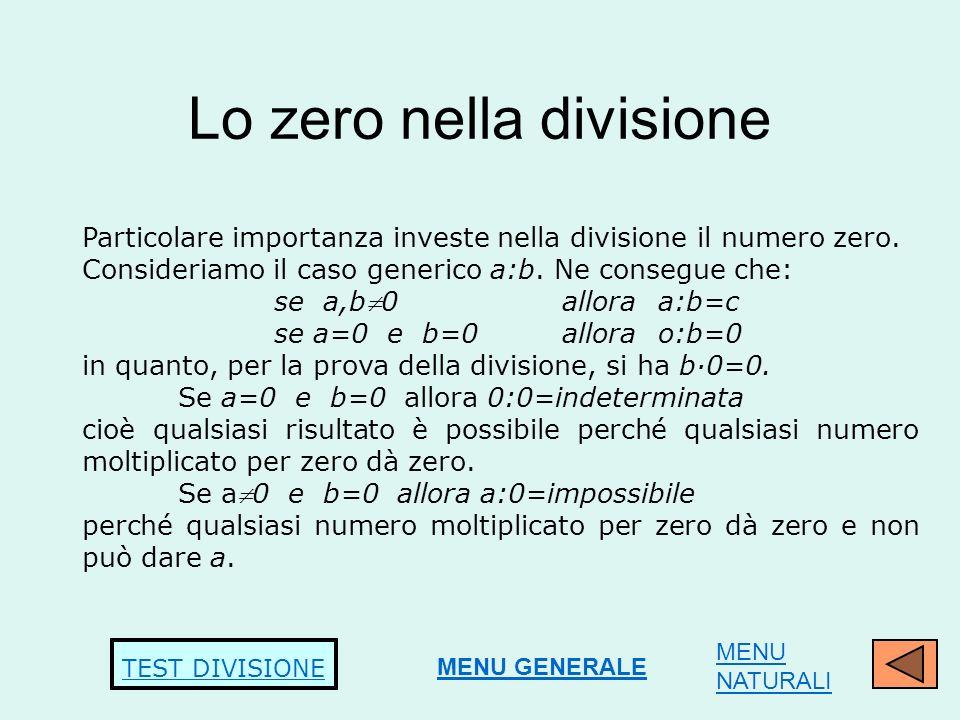 Lo zero nella divisione