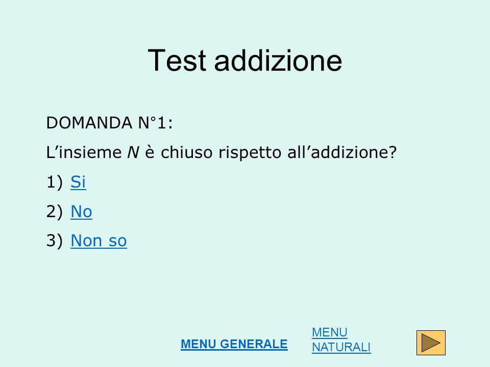 Test addizione DOMANDA N°1: