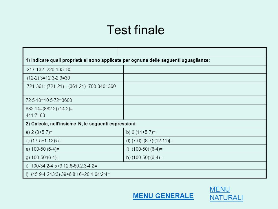 Test finale MENU NATURALI MENU GENERALE